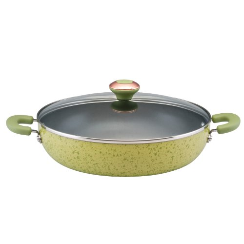 Paula Deen Signature Porcelain Nonstick 12-Inch Covered Chicken Deep Fryer, Pear Speckle (Deep Frying Pan Paula Dean compare prices)