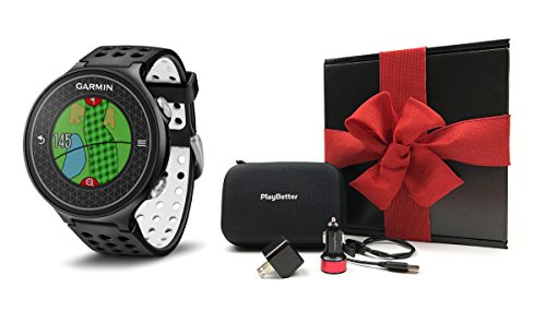 Garmin Approach S6 GIFT BOX | Includes Golf GPS Watch, Case, Wall & Car Charge Adapters (Black)
