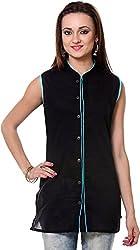Vedanta Women's Regular Fit Cotton Kurta (KICCSLPLN39B-BLACK-L, BLACK, Large)
