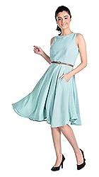 Aaina Women's Regular Fit Dress (Asd004C_Large, Green, Large)