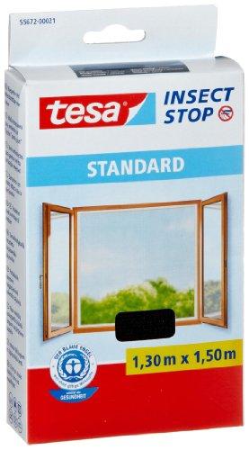 Tesa Insect Stop - Malla mosquitera Standard para ventanas, 1,3 m x 1,5 m, color negro