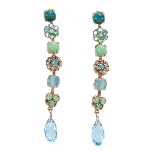 'Fresh Sensation' Collection Dangle Earrings by Amaro Jewelry Studio with Flower Details, Tear Drop Charms, Turquoise, Ulexite, Amazonite and Swarovski Crystals; 24K Rose Gold Plated
