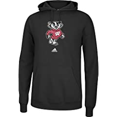 Wisconsin Badgers Adidas NCAA Versa Logo Hooded Sweatshirt - Black by adidas