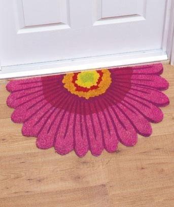 """Pink Daisy Coir Outdoor Rug Mat 18"""" X 30"""""""