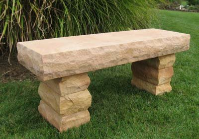 Stone Age Creations BE-SS-2 Sunset Sandstone Stone Boulder Bench