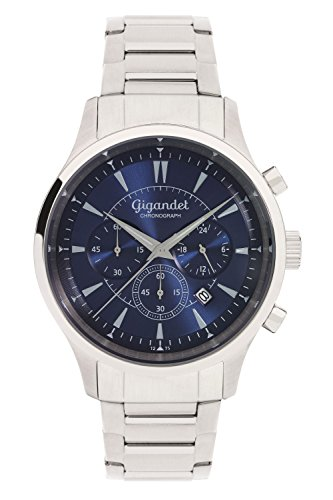 Gigandet Reloj de Hombre Cuarzo Brilliance Cronógrafo Analógico Correa de Acero Plata Azul G48-004