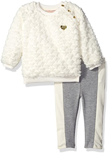 Juicy Couture Baby Girls' Faux Fur Top with Pockets and Pant Set, Pink, 12 Months