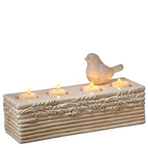 Midwest-CBK Ivory Perched Bird Tealight Holder