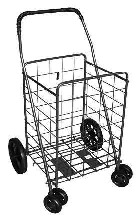 Jumbo Black Folding Shopping Swivel Wheel Cart