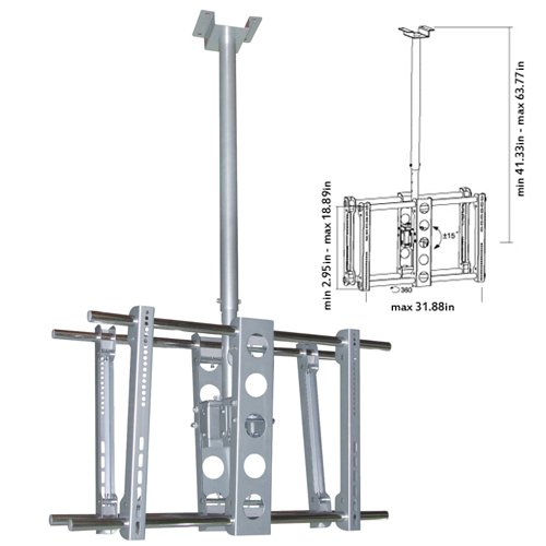 """Cmple - Heavy-Duty Ceiling Mount For Double Led, 3D Led, Lcd, Plasma Tv'S (37-63"""") - Silver"""
