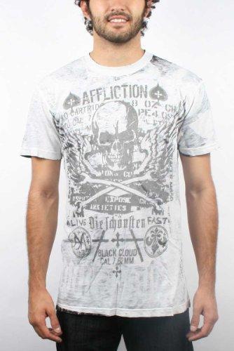 Affliction - Mens Cetina Short Sleeve Slub T-Shirt in Vintage White, Size: XX-Large, Color: Vintage White