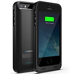 Maxboost Atomic S External Protective iPhone 5S Battery Case / iPhone 5 Battery Case with Built-in Kickstand - Matte Black / Black (Apple MFI Certified, Fits All Versions of iPhone 5 / 5S - Lightning Connector Output, MicroUSB Input ) [100% Compatible with iPhone 5 / 5S on iOS 7.0+ , Strengthened MicroUSB Input Port, No Signal Reduction]