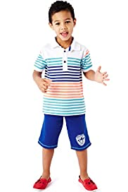 Pure Cotton Striped Polo T-Shirt & Shorts Outfit