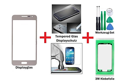 """iTech Germany PREMIUM Vetro display kit di sostituzione per Samsung Galaxy A3 Oro + Vetro temprato di Gorilla Glass - Touchscreen oleorepellente frontale per SM-A300F + """"3M"""" Adesivo pretagliato e Set di strumenti di 7 pezzi"""
