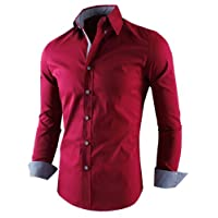 Tom's Ware Mens Premium Stylish Slim Fit Covered Contrast Fabric Buttons Dress Shirts TWNMS314-WINE-US LARGE
