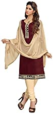 Jiya Presents Chanderi Dress Material(Wine,Beige)