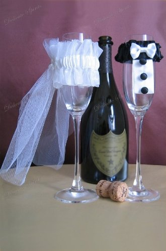 decorate champagne glasses. Wedding Champagne Toasting Flute Bride Groom Decoration Tulle Crafts Unique  Gift champagne flutes