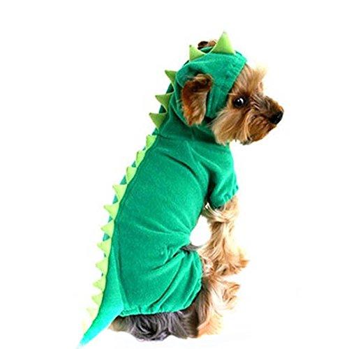 Generic Dog Pet Halloween Dinosaur Costume Green Coat Outfits Jumper