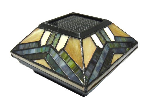 Pine Top 511-0014 Solar Post Cap Night Light, Stained Glass