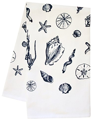 Artgoodies Blue Shell All Over Pattern Organic Block Print Tea Towel