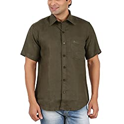 Gm Men's Formal Shirt (GM6006_Dark Green_42)