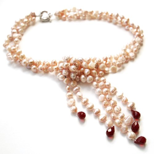 Rose-gold Baroque 17 Inch Three Strand Pearl Necklace; 5.5-6.5 mm Width Uneven Pearls with Red Gemstones