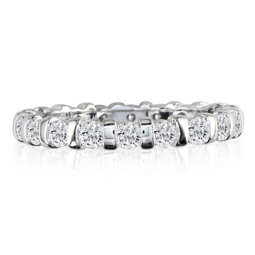 SuperJeweler 2ct Rounded Bar Set Diamond Eternity Anniversary Band Ring, 18K White Gold, GHSI