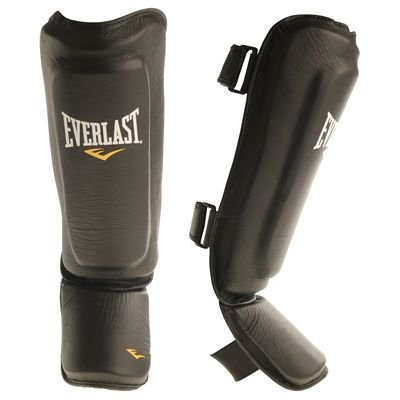 Everlast Kickboxing MMA Shin In Step Guards Black/Yellow S/M