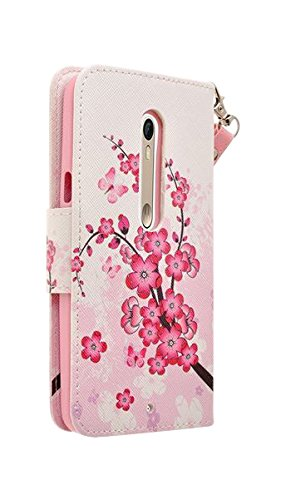 SumacLife Self Stand Wallet Case for MOTOROLA Droid Turbo 2 - Retail Packaging - Cherry Blossom Wristlet Cherry