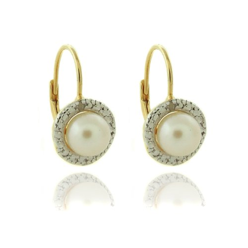 18k Gold Overlay Diamond Accent Pearl June Birthstone Leverback Earrings