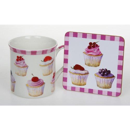 CUP CAKES FAIRY CAKES FINE BONE CHINA MUG & COASTER SET