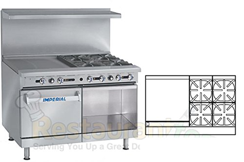 Imperial-Commercial-Restaurant-Range-48-With-4-Burner-24-Griddle-OvenCabinet-Nat-Gas-Ir-4-G24-C-Xb
