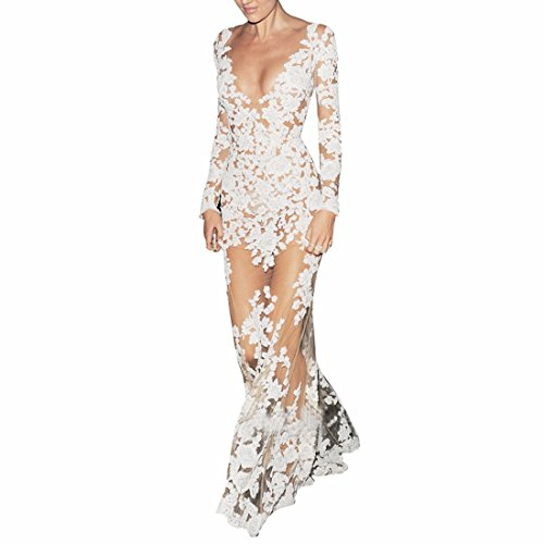 White Long Sleeve Deep V-Neck Floral Lace Mesh Sexy Night Ball Gown Maxi Dress