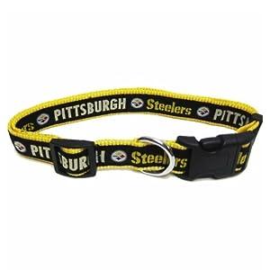 NFL Pittsburgh Steelers Black Adjustable Woven Team Pet Collar at SteelerMania