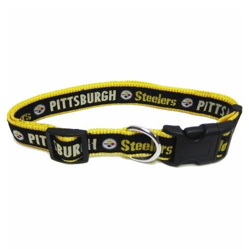 NFL Pittsburgh Steelers Black Adjustable Woven Team Pet Collar at SteelerMania
