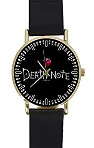 Anime Death Note Custom Design Gold Dial and Black Leather Band Quartz Movement Watch By-Ccilu