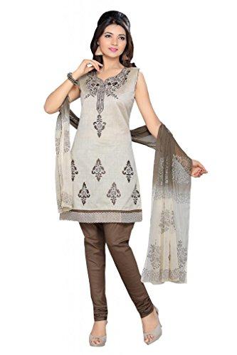 Charu Boutique Women's Silk Stitched Churidar Suit (Cream Rust_XL Size)