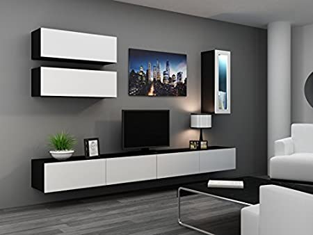 'Vigo Full IV' Living Room Wall Unit High Gloss Wall Cupboard Cabinet Glass Door Cabinet schwarz matt / weiß Hochglanz