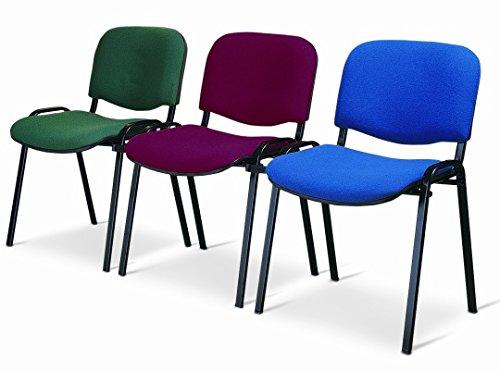 Sedia Da Ufficio Poltrona Fissa per Sala Attesa metallo e ecopelle blu