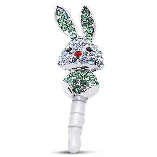 Cute Blinged Bunny Dust Plug Jewelry Charm For Any Device With Earphone Jack 3.5Mm