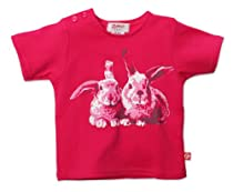 Zutano Baby-Girls Infant Bunny Short Sleeve Screen Tee, Fuchsia, 12 Months