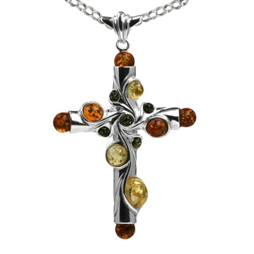 Multicolor Amber and Sterling Silver Big Cross Pendant, 18
