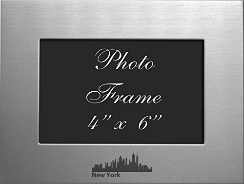 NYC, New York-4x6 Brushed Metal Picture Frame-Silver (New York Picture Frame compare prices)