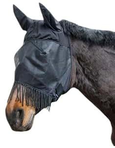 Kerbl 321268 Masque de protection anti-insectes avec protection des oreilles et franges naseaux pour pur-sang