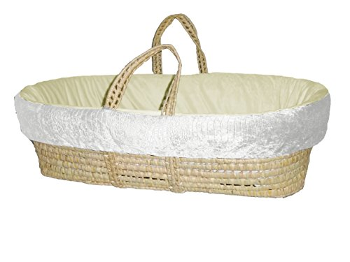 Baby Doll Croco Minky Moses Basket, Ivory/Beige
