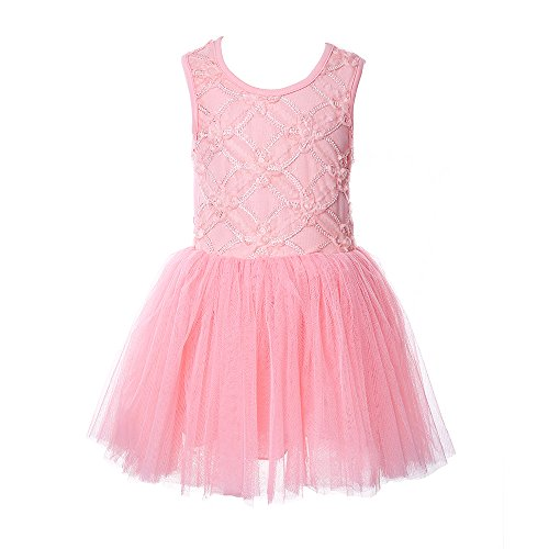 Kilolone® Baby Girls Kids Princess Dress Party Pageant Flower Tulle Tutu Dress (3T, Pink) (Infant Pink Flapper Costume)