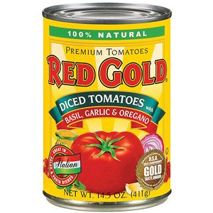 Red Gold Tomatoes, Premium, Diced with Basil, Garlic & Oregano 14.5 oz (Pack of 24)