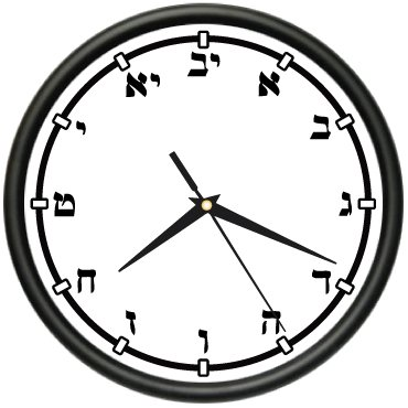 hebrew numbers wall clock