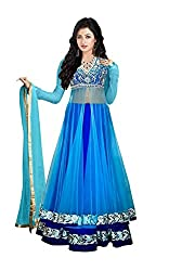 Clickedia Women's Net Zari Blue Kali Embroidered Semi Stitched Lehenga Suit With Yellow Net Dupatta