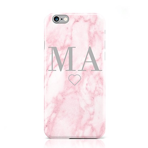 PERSONALISED BLUSH MARBLE INITIALS MOBILE PHONE CASE COVER FOR APPLE IPHONE 6 6S